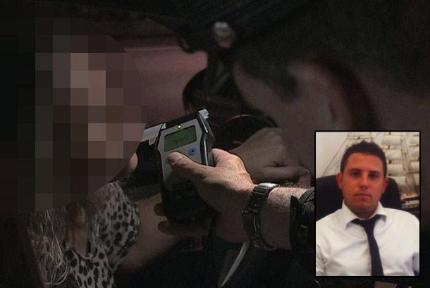 """עו""""ד מיכאל בן שטרית על רקע שוטר שמבצע בדיקת אלכוהול (עיבוד מחשב)"""