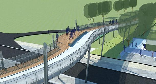 גשר העמקים. הדמיה: אב אדריכלות נוף בשיתוף אדר' עופרי גרבר